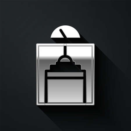 Silver Lift icon isolated on black background. Elevator symbol. Long shadow style. Vector