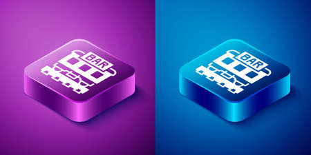 Isometric Restaurant train icon isolated on blue and purple background. Square button. Vector
