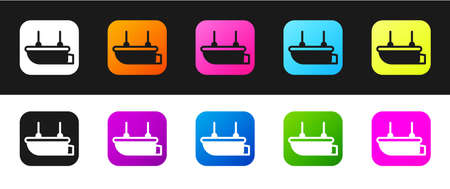 Set Lifeboat icon isolated on black and white background. Vector