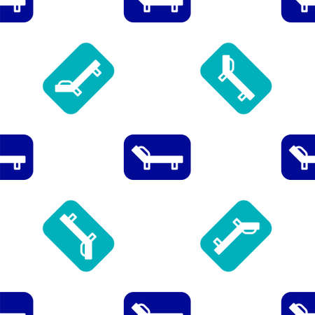 Blue Sunbed icon isolated seamless pattern on white background. Sun lounger. Vector