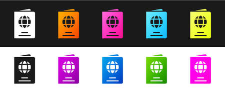 Set Passport with biometric data icon isolated on black and white background. Identification Document. Vector