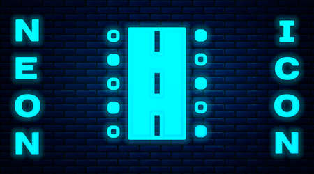 Glowing neon Airport runway for taking off and landing aircrafts icon isolated on brick wall background. Vector Векторная Иллюстрация