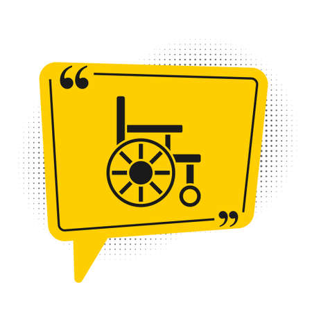 Black Wheelchair for disabled person icon isolated on white background. Yellow speech bubble symbol. Vector