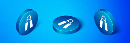 Isometric Sport expander icon isolated on blue background. Sport equipment. Blue circle button. Vector
