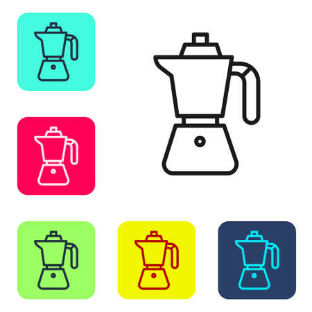 Black line Coffee maker moca pot icon isolated on white background. Set icons in color square buttons. Vector