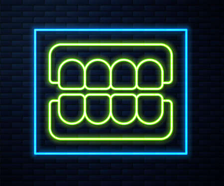 Glowing neon line False jaw icon isolated on brick wall background. Dental jaw or dentures, false teeth with incisors. Vector