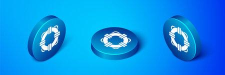 Isometric Lifebuoy icon isolated on blue background. Lifebelt symbol. Blue circle button. Vector Illustration Vettoriali