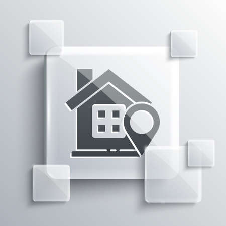 Grey Map pointer with house icon isolated on grey background. Home location marker symbol. Square glass panels. Vector Illustration Vettoriali