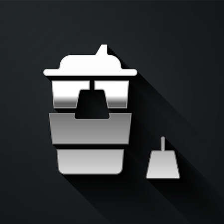 Silver Coffee cup to go icon isolated on black background. Long shadow style. Vector Иллюстрация