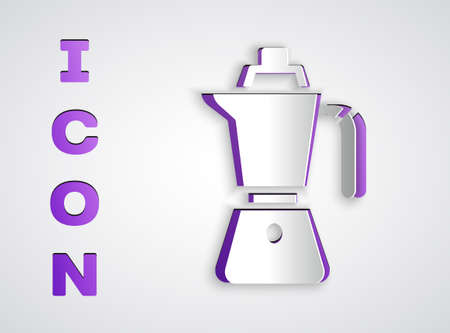 Paper cut Coffee maker moca pot icon isolated on grey background. Paper art style. Vector