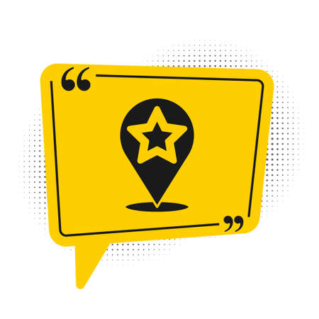 Black Map pointer with star icon isolated on white background. Star favorite pin map icon. Map markers. Yellow speech bubble symbol. Vector 矢量图像