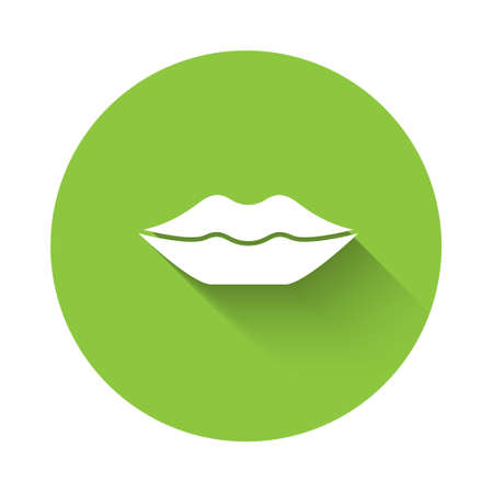 White Smiling lips icon isolated with long shadow. Smile symbol. Green circle button. Vector