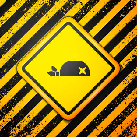 Black Pirate bandana for head icon isolated on yellow background. Warning sign. Vector
