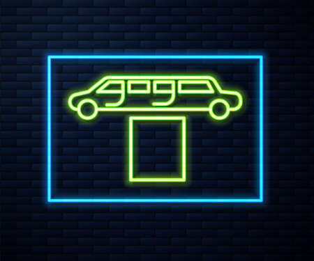 Glowing neon line Luxury limousine car and carpet icon isolated on brick wall background. For world premiere celebrities and guests poster. Vector Illustration