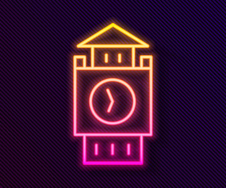 Glowing neon line Big Ben tower icon isolated on black background. Symbol of London and United Kingdom. Vector Çizim