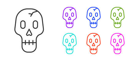 Black line Skull icon isolated on white background. Happy Halloween party. Set icons colorful. Vector Illustration