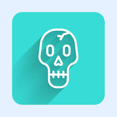 White line Skull icon isolated with long shadow. Happy Halloween party. Green square button. Vector