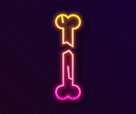 Glowing neon line Human broken bone icon isolated on black background. Vector