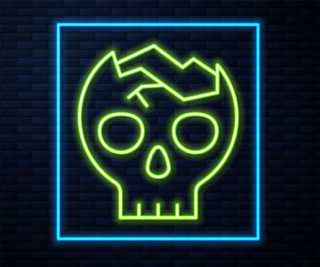 Glowing neon line Broken human skull icon isolated on brick wall background. Vector
