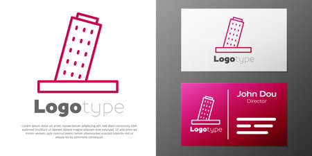 line Leaning Tower in Pisa icon isolated on white background. Italy symbol. design template element. Vector