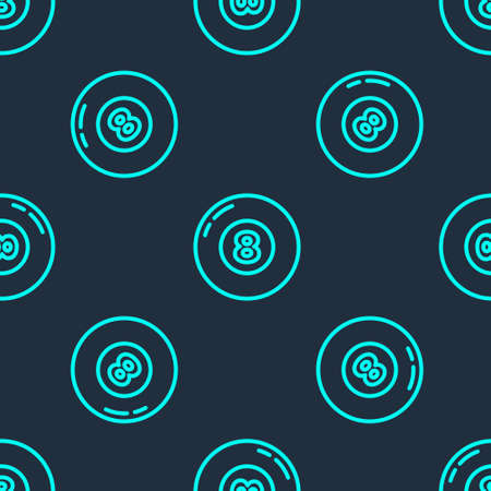Green line Billiard pool snooker ball icon isolated seamless pattern on blue background. Vector
