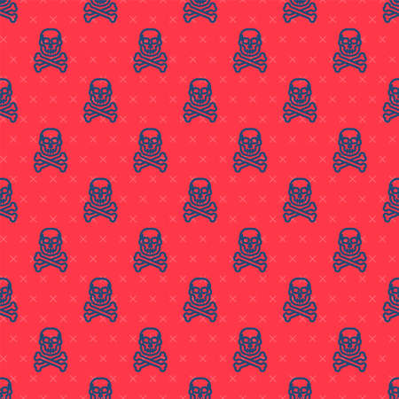 Blue line Skull on crossbones icon isolated seamless pattern on red background. Happy Halloween party. Vector