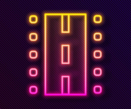 Glowing neon line Airport runway for taking off and landing aircrafts icon isolated on black background. Vector Векторная Иллюстрация