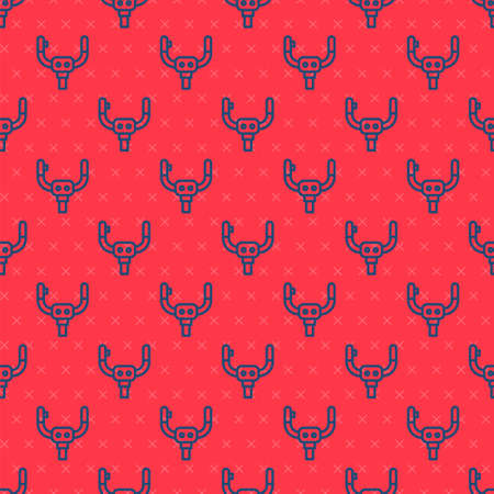Blue line Aircraft steering helm icon isolated seamless pattern on red background. Aircraft control wheel. Vector Illusztráció