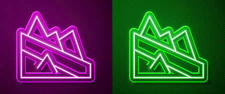 Glowing neon line Mountain descent icon isolated on purple and green background. Symbol of victory or success concept. Vector