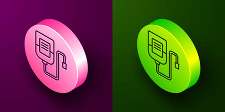 Isometric line IV bag icon isolated on purple and green background. Blood bag. Donate blood concept. The concept of treatment and therapy, chemotherapy. Circle button. Vector Иллюстрация