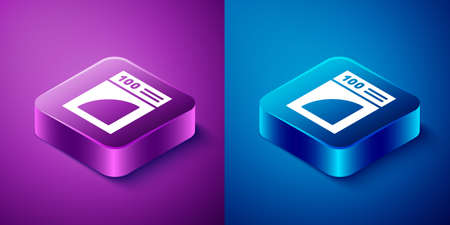 Isometric Coffee paper filter icon isolated on blue and purple background. Square button. Vector Illustration