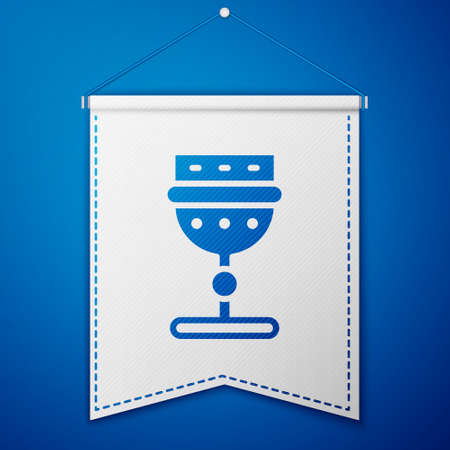 Blue Medieval goblet icon isolated on blue background. White pennant template. Vector Vectores