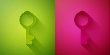 Paper cut Old key icon isolated on green and pink background. Paper art style. Vector Illustration