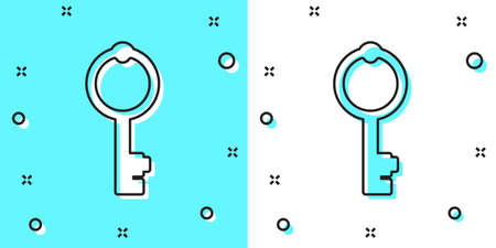 Black line Old key icon isolated on green and white background. Random dynamic shapes. Vector