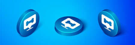 Isometric Dog bone icon isolated on blue background. Pets food symbol. Blue circle button. Vector