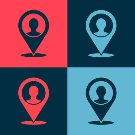 Pop art Map marker with a silhouette of a person icon isolated on color background. GPS location symbol. Vector  イラスト・ベクター素材