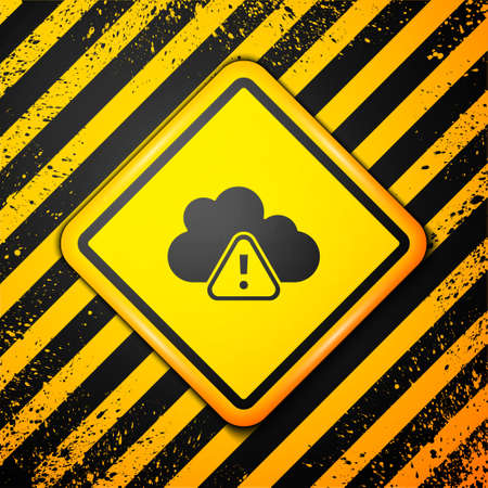 Black Storm warning icon isolated on yellow background. Exclamation mark in triangle symbol. Weather icon of storm. Warning sign. Vector