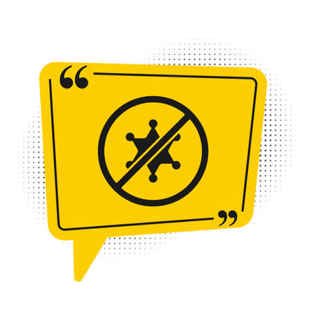 Black Protest icon isolated on white background. Meeting, protester, picket, speech, banner, protest placard, petition, leader, leaflet. Yellow speech bubble symbol. Vector
