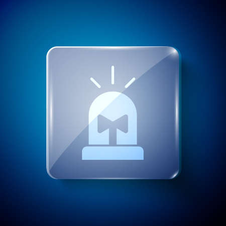White Flasher siren icon isolated on blue background. Emergency flashing siren. Square glass panels. Vector