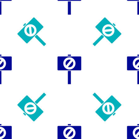 Blue Protest icon isolated seamless pattern on white background. Meeting, protester, picket, speech, banner, protest placard, petition, leader, leaflet. Vector