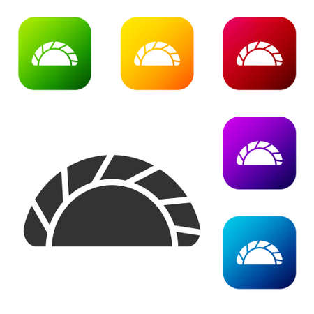 Black Dumpling icon isolated on white background. Traditional chinese dish. Set icons in color square buttons. Vector
