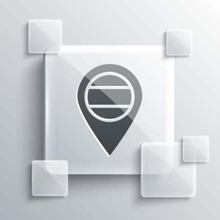 Grey Location Russia icon isolated on grey background. Navigation, pointer, location, map, gps, direction, place, compass, search concept. Square glass panels. Vector Vettoriali