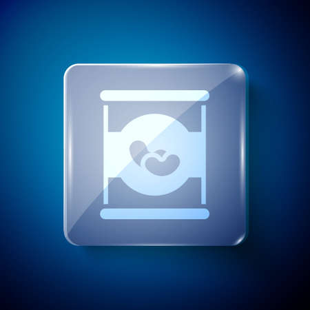 White Beans in can icon isolated on blue background. Square glass panels. Vector