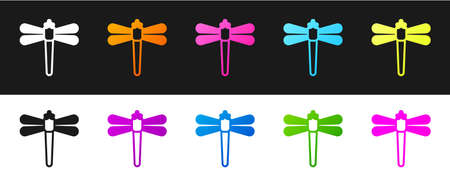 Set Dragonfly icon isolated on black and white background. Vector