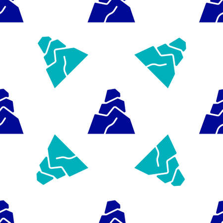 Blue Rock stones icon isolated seamless pattern on white background. Vector