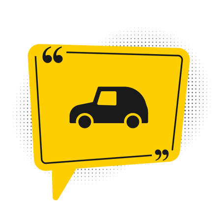 Black Toy car icon isolated on white background. Yellow speech bubble symbol. Vector