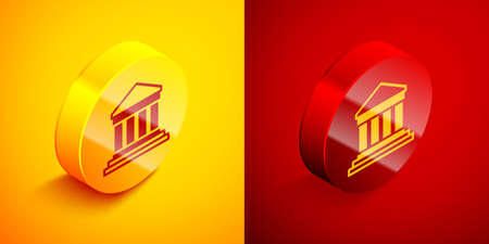 Isometric Parthenon from Athens, Acropolis, Greece icon isolated on orange and red background. Greek ancient national landmark. Circle button. Vector