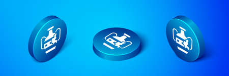 Isometric Broken ancient amphorae icon isolated on blue background. Blue circle button. Vector