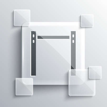 Grey Sport horizontal bar icon isolated on grey background. Square glass panels. Vector
