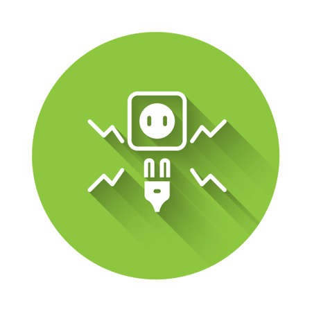 White Connecting electric plug with electricity spark icon isolated with long shadow. Green circle button. Vector Ilustracja